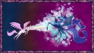 Celestia fires rainbows and bubbles at Nightmare Moon